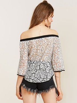 Off Shoulder Three-Quarter Sleeve Lace Blouse