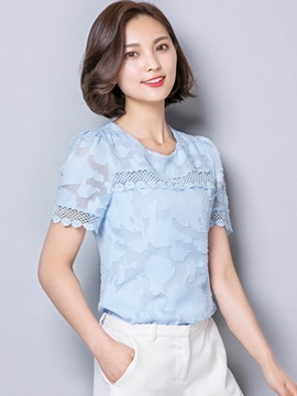 Slim Round Neck Lace Blouse