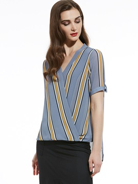 V-Neck Color Block Stripe Blouse