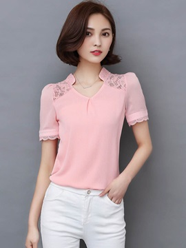Slim Lace Plain Blouse
