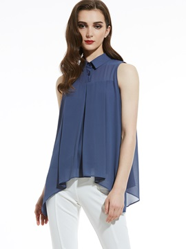 Slim Lapel Sleeveless Plain Blouse