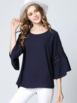 Loose Round Neck Chiffon Flare Sleeve Blouse