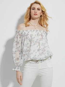 Slash Neck Floral Ruffle Sleeve Blouse