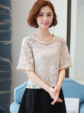 Ladylike Lace Hollow Pullover Blouse