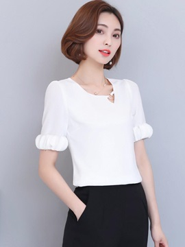 Plain Chiffon Petal Sleeve Blouse