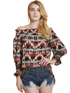 Slash Neck Vintage Print Flare Sleeve Blouse