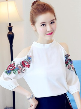Chiffon Cold Shoulder Embroidery Lantern Sleeve Blouse