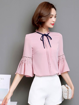 Chiffon Fabala Lace Up Flare Sleeve Blouse