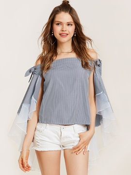 Slash Neck Stripe Patchwork Blouse
