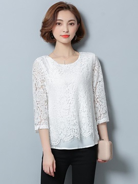 Lace Crochet Double-Layer Blouse