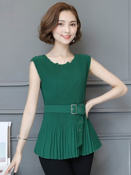 Slim Chiffon Pleated Mid-Length Blouse
