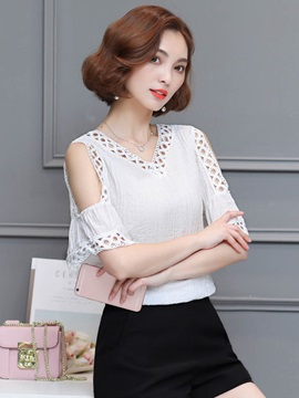 Ladylike Cold Shoulder Hollow Blouse