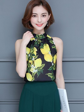 Chiffon Print Sleeveless Blouse