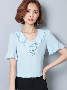 Plain V-Neck Falbala Blouse