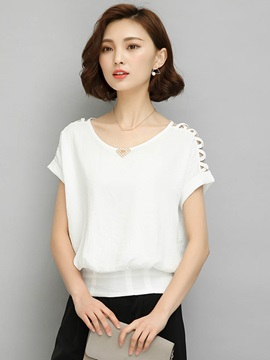 Round Neck Hollow Chiffon Blouse