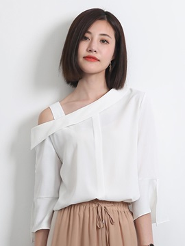 Oblique Collar Flare Sleeve Blouse