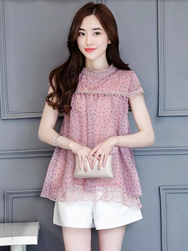 Round Neck Floral Lace Blouse