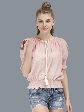 Slash Neck Embroidery Blouse