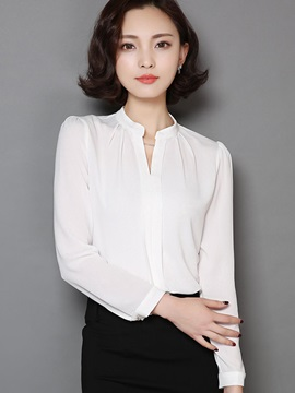 OL Slim V-Neck White Blouse