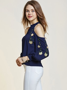 Cold Shoulder Embroidery Blouse