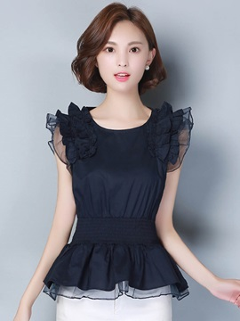 Organza Sleeveless Pleated Blouse