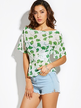 Slim Slash Neck Plant Print Blouse