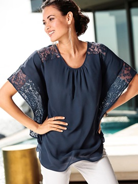 Loose Lace Batwing Sleeve Blouse