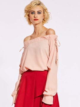 Plain Slash Neck Lace-Up Blouse