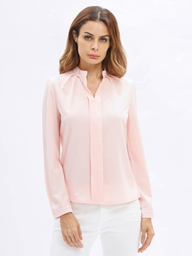 Plain Stand Collar Blouse