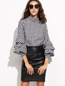 Turtle Neck Plaid Lantern Sleeve Blouse