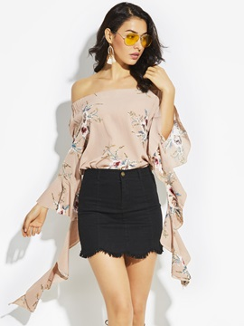 Off Shoulder Flower Print Bell Sleeve Blouse