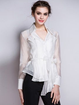 Lapel Mesh See Through Blouse