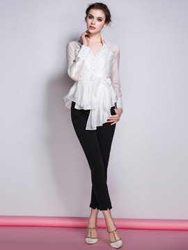 Tie Front Mesh See Through Women's Blouse