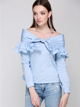 Plain Off Shoulder Falbala Women's Blouse