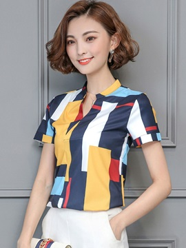 Slim V-Neck Color Block Print Blouse