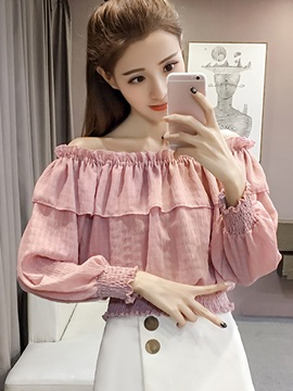 Slash Neck Pleated Falbala Blouse