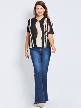 Plus Size Color Block V-Neck Blouse