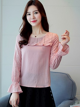 Slim Lace Patchwork Flare Sleeve Blouse