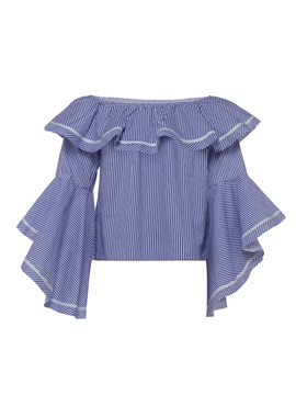 Plus Size Off Shoulder Falbala Flare Sleeve Blouse