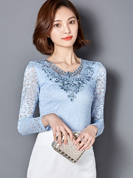 Plain Slim Lace Crochet Blouse