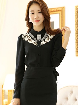 Elegant Lapel Lace Hollow Shirt