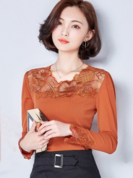 Ladylike Mesh Patchwork See Through Blouse