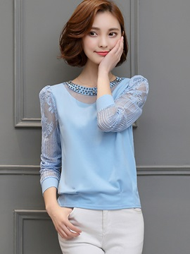 Plain Chiffon Lace Crochet Blouse