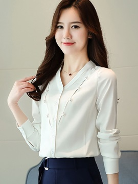 V-Neck Chiffon Bead Shirt