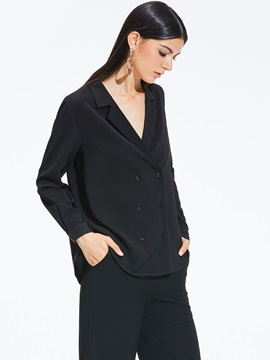Long Sleeve Notched Lapel Women's Blouse