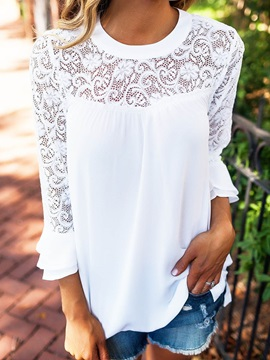Lace Patchwork 3/4 Sleeves Volant Women's Blouse