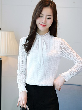 Stand Collar Lace Bowknot Blouse