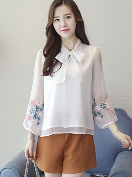 Chiffon Embroidery Lantern Sleeve Blouse