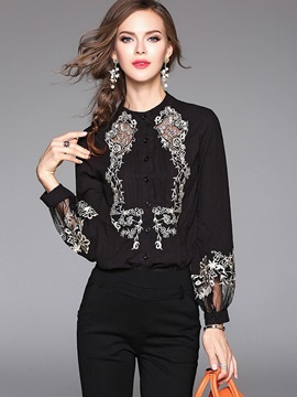 Long Sleeve Solid Color Blouse