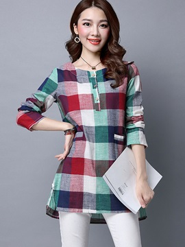 Long Sleeve Loose Round Neck Plaid Blouse